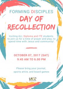 Diploma & ITE: Day of Recollection @ Office for Young People | Singapore | Singapore